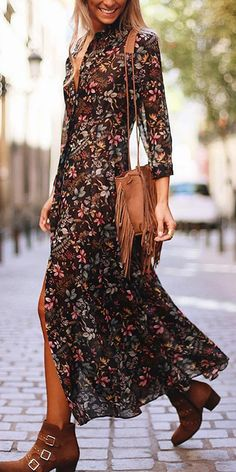 Floral Dress Long sleeve floral split dress, various style&color for you, jumpsuits, sweaters&coats Floral Dress Outfits, Fashion Dresses, Boho Floral Dress, Floral Jumpsuit, Floral Style, Cute Dresses, Casual Dresses, Summer Dresses, Look Fashion