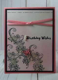 Hello Stampers, Today I am sharing a very simple and easy card, but so elegant looking. Although I stamped Happy Birthday, it easily could. Birthday Wishes, Birthday Cards, Happy Birthday, My Stamp, Gift Cards, Cool Cards, Stampin Up Cards, Butterflies, Card Ideas