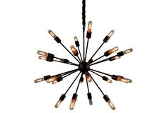 Alanya Starburst Chandelier, Dark Red