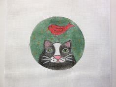 Folk Art Kitty Cat w/Red Bird Ornament Handpainted Needlepoint Canvas