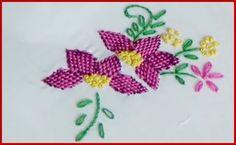 Hand Embroidery Checkered Flower Stitch