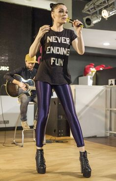 The Voice coach Jessie J obviously thoroughly enjoys her job as she wears a 'Never Ending Fun' slogan T-shirt as she performs at the Music Is Great Week launch in London.