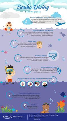 Sprachreise und Sport  Scuba Diving #EnglischLernen #Diving #Infografik #GermanInfographics
