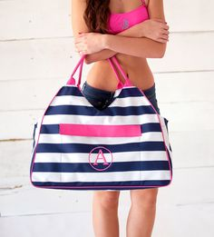 Monogram Stripe Beach Bag  Personalized  by embellishboutiquellc