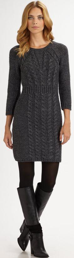 TIBI - dark grey chunky knit sweater dress