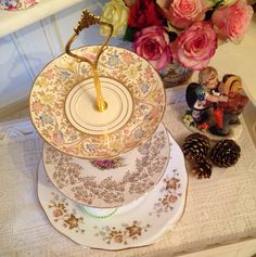 Three Tier Mismatched Cake Stand made with by VerasTreasures, £44.00