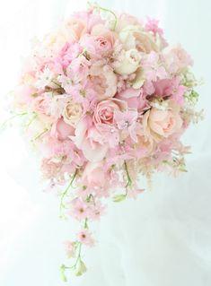 ブーケ セミキャスケード あまあまのピンクで : 一会 ウエディングの花