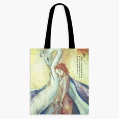 CLEARANCE - Guardian Spirits Cotton Tote Bag with Zipper Pocket - Bi Fang Cotton Tote Bags, Reusable Tote Bags, Japanese Folklore, Blue Feather, Watercolor And Ink, The Guardian, Woodland, Mystery, Zipper