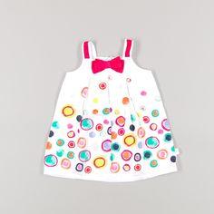 Vestido de topos de colores de color Blanco de marca Boboli
