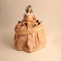 vintage art nouveau embroidery | Antique Art Nouveau Bisque Doll Pincushion for Hat Pins German Silk ...