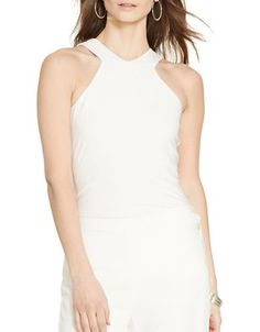 Lauren Ralph Lauren Slim-Fit Cutaway Jersey Tank Women's White Small
