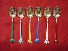 6 Norwegian Sterling SIilver Vermeil Demitasse Spoons with Enamel  (#30)