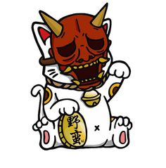 "Gloss Vinyl Size: 3.5"" x 5""Hand drawn original maneki neko with oni mask:"