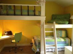 Bunk Beds, Desk and Platform - contemporary - kids - atlanta - by True Carpentry and Cabinetry Loft Twin Bed, Loft Bunk Beds, Double Loft Beds, Bunk Bed With Desk, Low Loft Beds, Triple Bunk, Kid Beds, Full Size Bunk Beds, Unique Bunk Beds