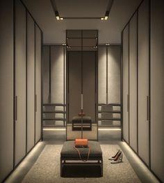 Luxury Walk In Closet and Dressing Room Luxury Wardrobe, Wardrobe Design Bedroom, Master Bedroom Closet, Luxury Closet, Home Room Design, Decor Interior Design, Interior Decorating, Design Homes, Dressing Room Closet