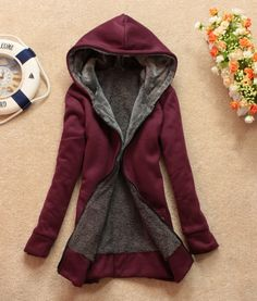 Zipper Thick Wool Outerwear Hoodie