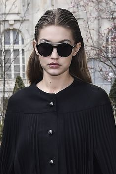 Pin for Later: Gigi Hadid Wearing Glitter Eyebrows Is the Best Thing You'll See Today Gigi Hadid Street Style Paris Fashion Week Fall 2016