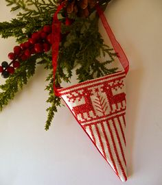 New for 2012 Cornicopia Embroidered Nordic Christmas Ornament | Cherie Wheeler Designs