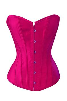 5e324c7993 Chicastic Black Satin Sexy Strong Boned Corset Lace Up Bustier Top - Also  White   Red at Amazon Women s Clothing store  Corsets And Bustiers