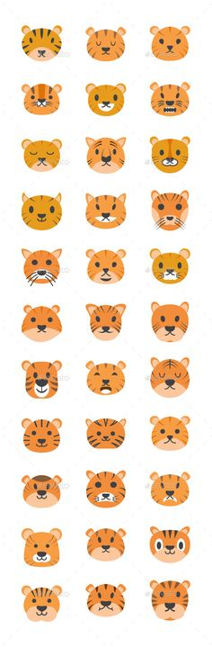 Buy 35 Cute Tiger Faces Vector Icons by vectorsmarket on GraphicRiver. There are 35 icons in this pack. Tiger Face Drawing, Cat Drawing, Tiger Emoji, Character Flat Design, Icon Tattoo, Tiger Vector, Art With Meaning, Kindergarten Art Projects, Cute Tigers