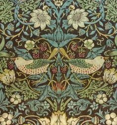 William-Morris-Vintage-Wallpaper-Strawberry-Thief-Chocolate-Slate-sold-per-roll