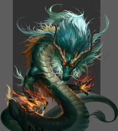 by v wei Mythological Creatures, Fantasy Creatures, Mythical Creatures, Dark Fantasy Art, Fantasy Artwork, Fire Dragon, Dragon Ball, Fantasy Beasts, Dragon Artwork