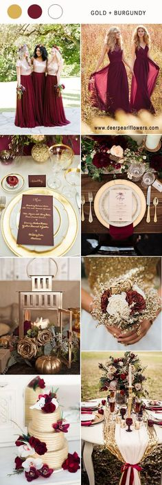 Gold and burgundy wedding color ideas #BurgundyWeddingIdeas