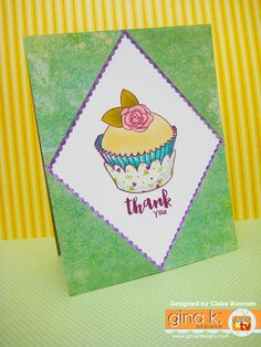made with my new 'Sweet Thing' clear stamps now available from Gina K… Clear Stamps, Thank You Cards, Cardmaking, Your Design, Projects To Try, Greeting Cards, Thankful, Paper Crafts, Making Cards