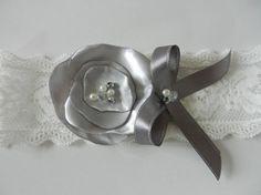 Wedding Garter, Bridal Garter, Garter, Gray Flower Garter, Lace Garter, Garter Belt, Wedding Garter Belt, Silk Satin Flower, Keepsake Garter