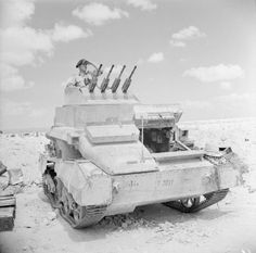 THE BRITISH ARMY IN NORTH AFRICA 1942. Vickers Light Tank AA Mk 1, a stop-gap anti-aircraft tank armed with four 7.92mm Besa machine guns, 15 September 1942.