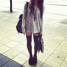 """I always liked the """"oversized sweater/sweatshirt"""" look.. but I'm always curious if people wear pants with them. I mean, is she wearing pants with them? All I see are long socks, usually.. garters, things like that. WHERE THE FUCK ARE HER PANTS haha"""