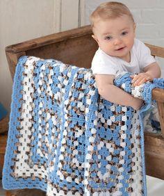 Around the Block Baby Blanket. Crochet nine rectangle granny squares