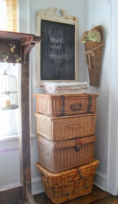 ✿ etsy bluefolkhome says ✿ nothing like a stack of vintage picnic baskets! Vintage Picnic Basket, Wicker Picnic Basket, Vintage Baskets, Wicker Baskets, Wicker Trunk, Sunroom Furniture, Wicker Furniture, Wicker Chairs, Furniture Storage