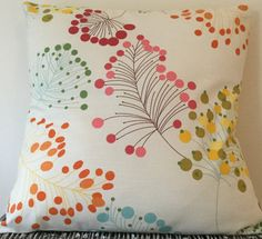 Botanical cream cushion in various sizes - pink / blue / yellow / green / red from Little Pea Handmade on Etsy.  Follow me on Twitter @littlephandmade and Instagram @littlepeahandmade