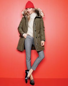 J.Crew women's Nordic parka, perfect cable sweater, Martie pant, ribbed knit beanie and calf hair loafers.