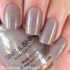 "Sinful Colors Prosecco review and swatch comparison with China Glaze Fast Track by Handtastic Intentions. ""It is a sort of nude leaning grey with gold/iridescent shimmer throughout."" Fast Track is much more gold."