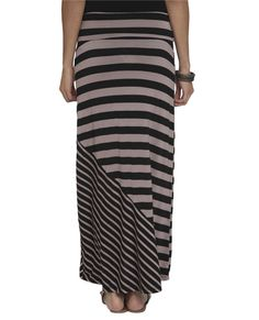 Mixed Stripe Maxi Skirt - Bottoms