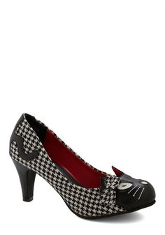 Meow's the Time Heel in Houndstooth. As a bona fide cat lover, youve always come to the rescue for a furry friend in need of a home. #blackNaN