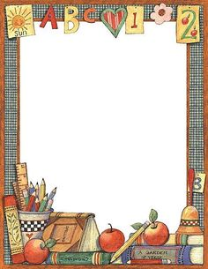 Teacher Created Resources School Time Computer Paper from Susan Winget Create letters, invitations, and flyers with colorful computer paper. Boarder Designs, Page Borders Design, Borders For Paper, Borders And Frames, Portfolio Kindergarten, School Border, School Frame, Computer Paper, School Clipart