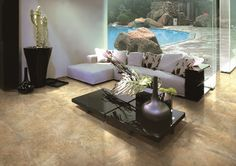 Matte Onix Beige Wall And Floor Tiles, Porcelain Tile, Couch, Flooring, Living Room, Table, Beige, Furniture, Stone