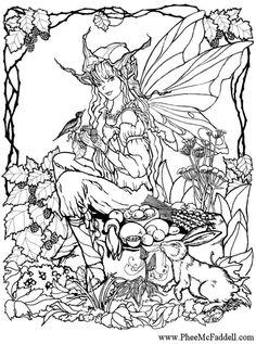 Malvorlage  Elfe im Wald