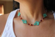 Beaded filigree patina necklace with gold plated chain