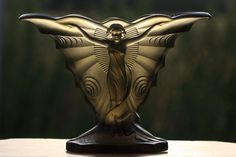 "Walther & Sohne Art Deco Glass Vase ""Schmetterling"" (butterfly), 1930 (hva)"