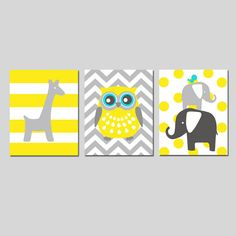 Nursery Art Animal Trio  Set of Three 8x10 Prints  by Tessyla