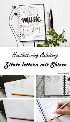 In dieser Handlettering Anleitung lernst du, wie du dank Miniskizzen ganz einfach einen ganzen Satz oder ein Zitat als Lettering gestalten kannst.