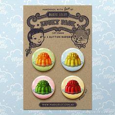 Magic Jellies Button Badge Set via Magic Jelly