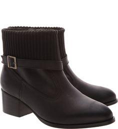 Ankle Boot London Cano Malha Tricô Preta | Arezzo