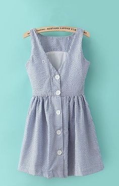 So CUTE Love the V Neck Button Back! Adorable! Vertical Stripes Printing V-back Sleeveless Dress #Cute #Summer #Dress #Fashion