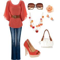 shades of coral & brown