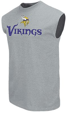 0ccfee7ce7 Minnesota Vikings Mens Grey Critical Victory 9 Majestic Sleeveless T Shirt  $27.95 Minnesota Vikings, Big
